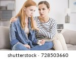 crying red haired girl sitting... | Shutterstock . vector #728503660