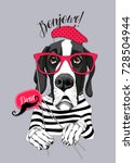 great dane dog in a striped t... | Shutterstock .eps vector #728504944
