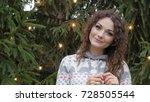 cheerful woman in santa hat...   Shutterstock . vector #728505544