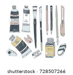 hand drawn art tools and... | Shutterstock .eps vector #728507266