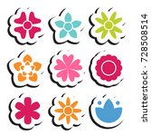 flower sticker icon collection. ... | Shutterstock .eps vector #728508514