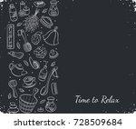 i love sauna. sauna accessories ... | Shutterstock .eps vector #728509684
