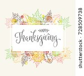 happy thanksgiving greeting... | Shutterstock .eps vector #728509738