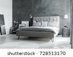 grey king size bed in... | Shutterstock . vector #728513170