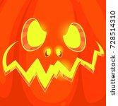pumpkin face on background.... | Shutterstock .eps vector #728514310