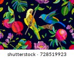 pomegranate tropical garden.... | Shutterstock .eps vector #728519923