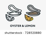 oyster shell mollusk seafood...   Shutterstock .eps vector #728520880