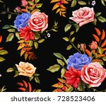 flowers and leaves floral... | Shutterstock .eps vector #728523406