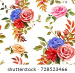 flowers and leaves floral... | Shutterstock .eps vector #728523466