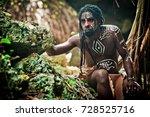 black man with dreadlocks in... | Shutterstock . vector #728525716