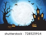 halloween spooky blue vector... | Shutterstock .eps vector #728525914
