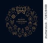 christmas golden icon wreath... | Shutterstock .eps vector #728528488