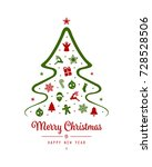 merry christmas tree greeting... | Shutterstock .eps vector #728528506