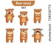 vector set of cute bear... | Shutterstock .eps vector #728528773