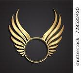 3d golden winged circle label   Shutterstock .eps vector #728532430