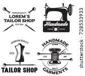 set of vintage tailor labels ... | Shutterstock .eps vector #728533933