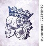 beautiful romantic skull with... | Shutterstock .eps vector #728545450