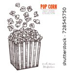 hand drawn sketch popcorn ... | Shutterstock .eps vector #728545750
