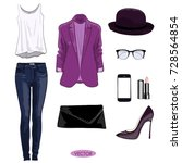 casual autumn outfit set for... | Shutterstock .eps vector #728564854