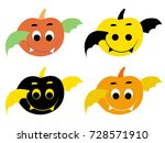 flat pumpkin halloween vector  | Shutterstock .eps vector #728571910