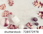 fall beauty products flatlay on ... | Shutterstock . vector #728572978