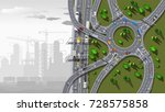 top view city map with road and ... | Shutterstock .eps vector #728575858
