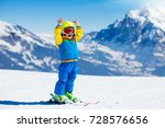 child skiing in mountains....   Shutterstock . vector #728576656