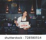 asian woman working in coffee... | Shutterstock . vector #728580514