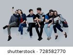 causal group of people sitting... | Shutterstock . vector #728582770