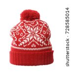 red winter knitted hat. knitted ... | Shutterstock . vector #728585014