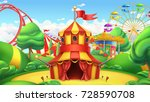 circus tent. amusement park. 3d ... | Shutterstock .eps vector #728590708