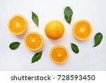 fresh orange citrus fruit on ... | Shutterstock . vector #728593450