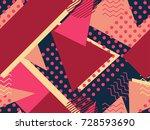 memphis seamless pattern.... | Shutterstock .eps vector #728593690