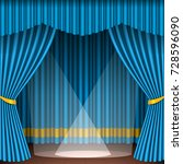 theater stage scene with blue... | Shutterstock .eps vector #728596090