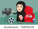 arab girl or woman watching... | Shutterstock .eps vector #728596144