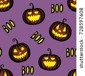 seamless pattern with halloween ... | Shutterstock .eps vector #728597608