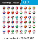flags of asia  inside round...   Shutterstock .eps vector #728602906