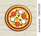 pizza top view vector... | Shutterstock .eps vector #728610220