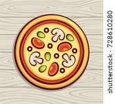 pizza top view vector... | Shutterstock .eps vector #728610280