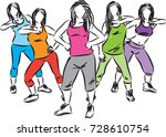group of fitness women dancers...