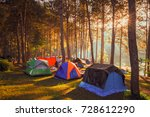 camping and tent under the pine ...   Shutterstock . vector #728612290