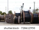 large wooden cable pulleys with ... | Shutterstock . vector #728612950