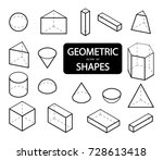 set of 3d geometric shapes.... | Shutterstock .eps vector #728613418