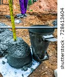 Small photo of PRACHIN BURI, THAILAND - August 6 25th: 60 slump test to find liquid for use in concrete pouring.