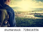 girl with backpack viewing... | Shutterstock . vector #728616556