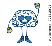 cute brain with sunglasses... | Shutterstock .eps vector #728618623