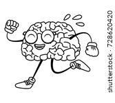 brain cartoon running | Shutterstock .eps vector #728620420