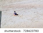 girl playing at the beach in... | Shutterstock . vector #728623783