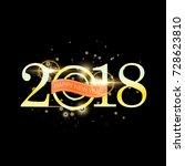 happy new year 2018 with golden ... | Shutterstock .eps vector #728623810