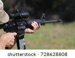 man firing machine gun with... | Shutterstock . vector #728628808